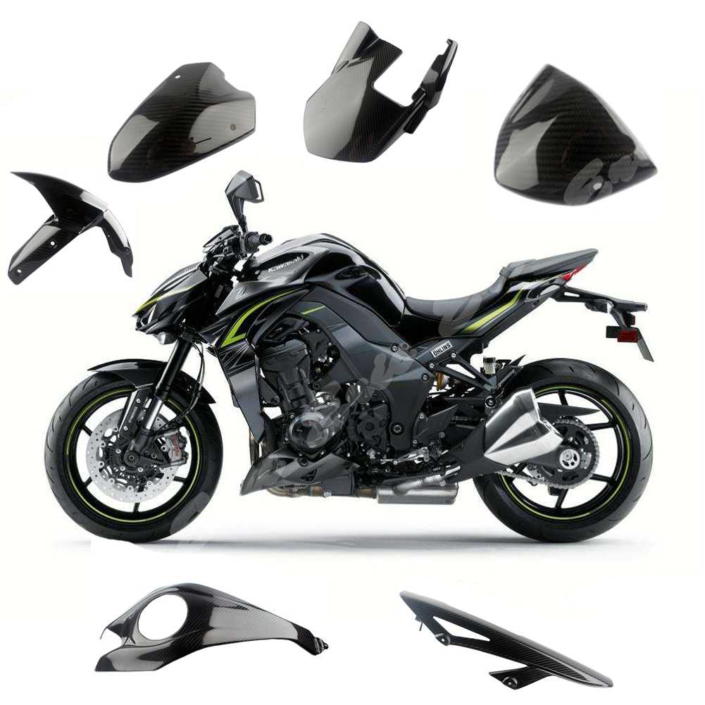 Pre-Preg 3K Twill Real Carbon Glossy Front Fender Rear Hugger Windscreen Tank Chain Cover For Kawasaki Z1000 2014 2015 2016 2017