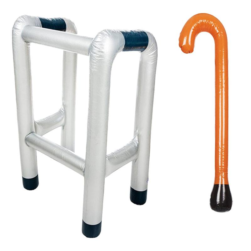 2pcs Inflatable Zimmer Frame And Walking Stick Blow Up Novelty Dress Up Prop Blow Up Toy Costume Party Accessory