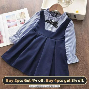 Bear Leader Girls Dresses Spring New Baby Girl Dress Striped with Bow Long Sleeves Princess for Kids Clothes Vestidos
