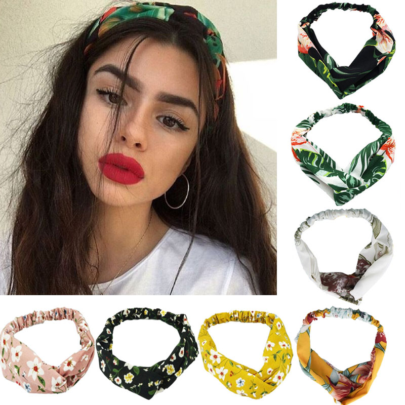 Fashion Women Girls  Bohemian Hair Bands Print Headbands Vintage Cross Turban HairBands Elastic Hair Ties Hair Accessories