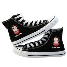 Женские парусиновые туфли с принтом «дом паперов», повседневные кроссовки на шнуровке, Kpop, модные кроссовки, весна 2019