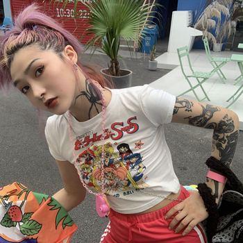 Cartoon Print Harajuku Goth Female Women T-shirts Kawaii Short Anime Tshirt HipHop 2021 Summer Streetwear Crop Tops Teens 1