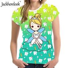 Jackherelook Novo Tshirts Mulher Gradiente Dentisi Fada do Dente Dos Desenhos Animados Imprimir Feminino Casual Top Tee O-pescoço Roupas Camiseta Dental