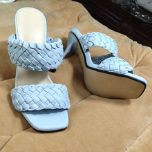 Women Sandals Slippers Woman Shoes Pumps Weave Band High Heels Sandal Summer Shoes Fashion Slides Party Slip on Ladies Sandals