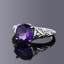S925 Sterling Silver Rings Zircon Amethyst for Women Vintage Design Fashion Jewelry Bridal Wedding Engagement Ring Accessory