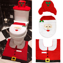 Toilet Seat Cover Warm Christmas Decoration Cushion Closestool Snowman Flannelette Bathroom Comfortable Soft Home Washable Funny