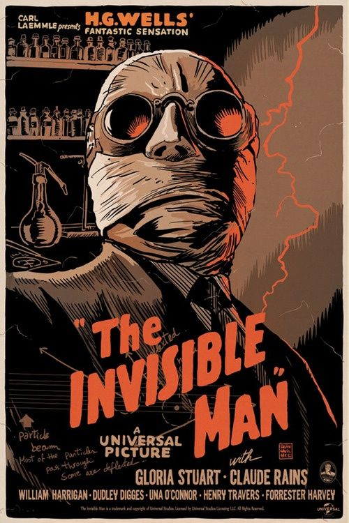 The Invisible Man 12x18//24x36inch 1933 Old Horror Movie Silk Poster