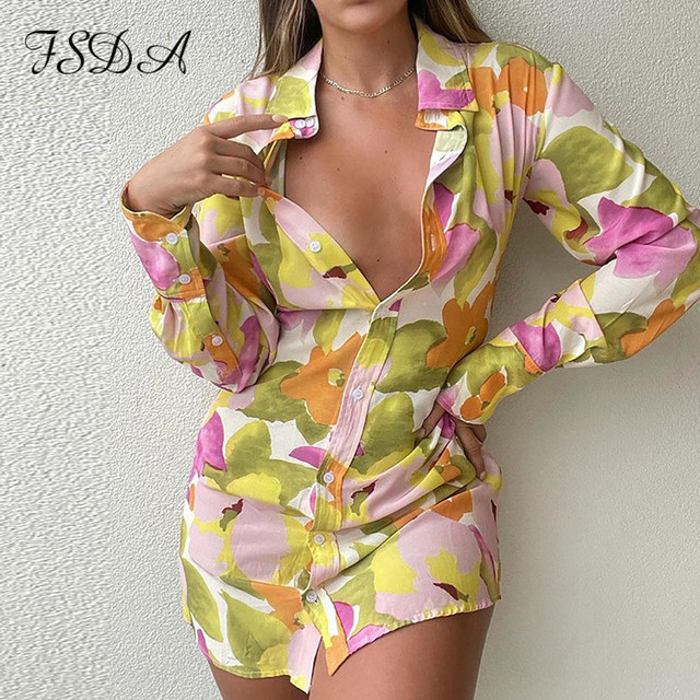 FSDA 2021 Floral Print Long Sleeve Shirt Dress Women V Neck Spring Summer Mini Sexy Beach Casual Bodycon Party Dresses 1