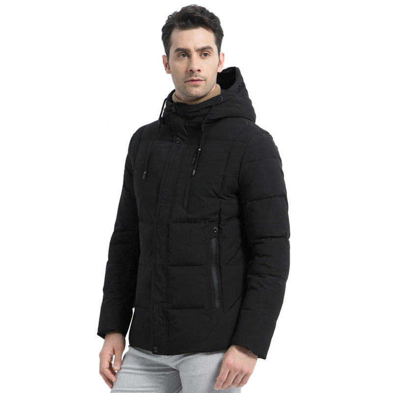 ICEbear 2019 new winter  fashion brand parkas men's jacket simple fashion hooded coat knit cuff design male's jackets MWD18926D rib marled knit hooded dress