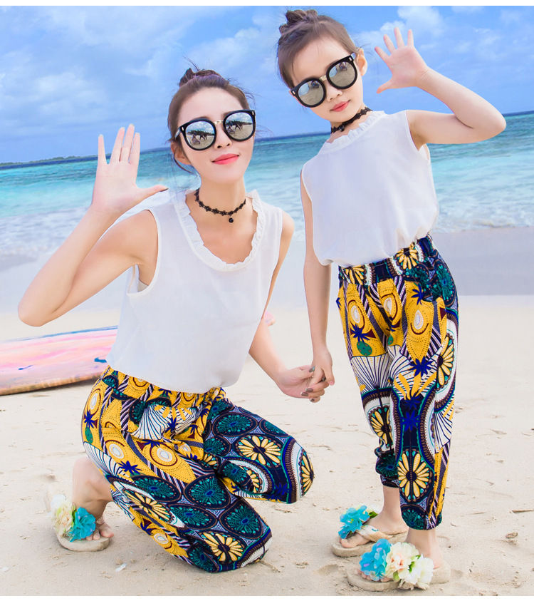 Parent-child wear womens summer dress T-shirt new beach holiday lovers fashion pants cool and comfortable