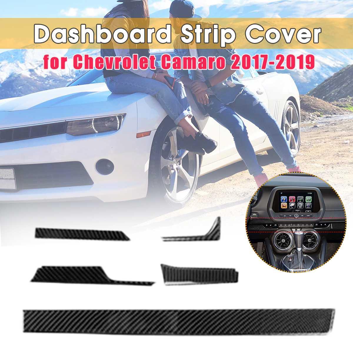 5PCS Carbon Fiber Dashboard Sticker Center Strip Cover Console Trim Panel For Chevrolet Camaro 2017 2018 2019