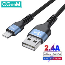 QGeeM MFi USB Cable for iPhone 12 Pro Max X XR 11 8 7 Plus 2.4A Fast Charging Lightning Cable USB Data Cable Phone Charger Cord