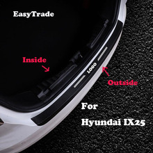 купить Car styling leather Rear Bumper Protector Sill Trunk Tread Plate Trim Sticker For Hyundai IX25 2015-2019 interior Accessorioes онлайн