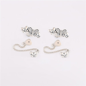 Image 3 - 925 sterling silver earrings new cz Sparkling Butterfly Stud Earrings for ladies birthday gifts