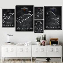 Personnalisé F1 Circuits piste course voiture Super Collage affiche mur Art peinture photo imprime toile salon chambre décor
