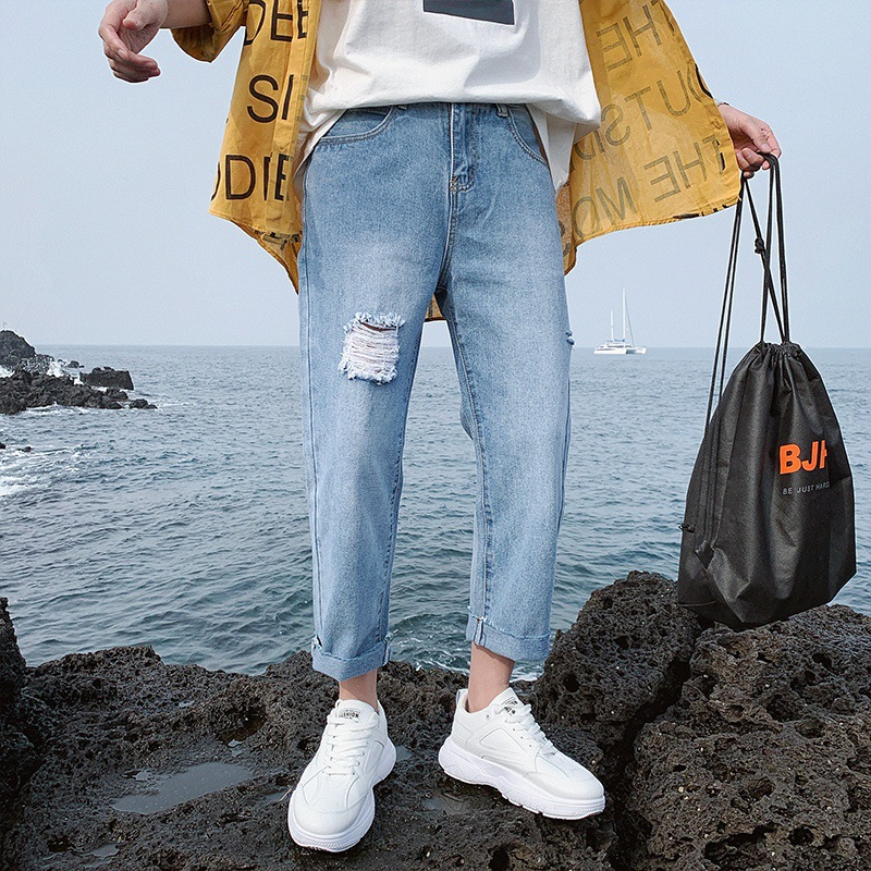 Hong Kong Style Pants BOY'S Flash Light Color Capri Jeans Men's Popular Brand Loose Straight Korean-style Trend Versatile Studen