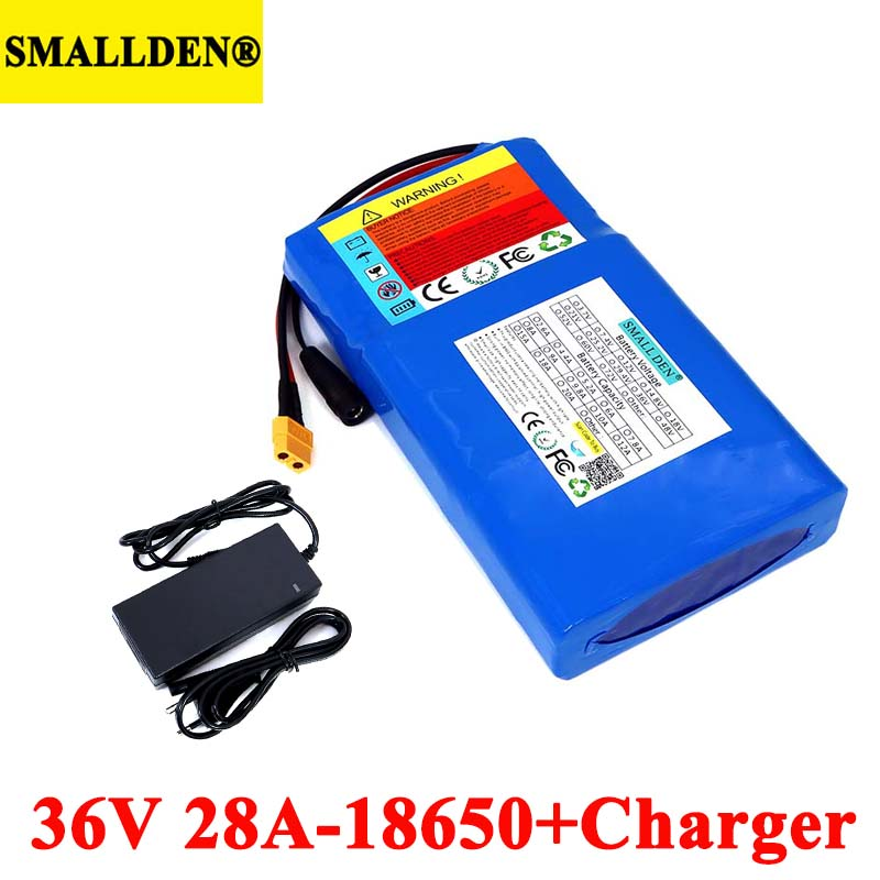 36V 28Ah Lithium Battery Pack 18650 28000mAh High rate 20A BMS for Balancing scooter E-bike lawn mower with 42V 2A Charger image