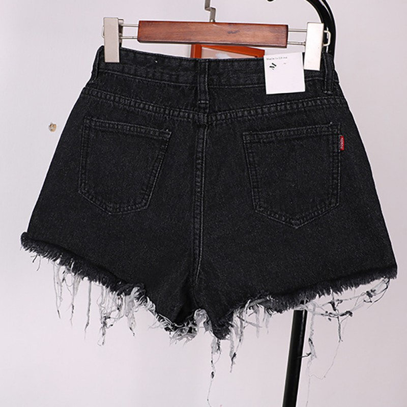 Hot Women Casual High Waist Vintage Mini Short Pants Frayed Raw Hem Ripped Distressed Denim Female Shorts