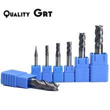 Q. moinho de extremidade do carboneto hrc50 de grt 1 2 4 5 6 8 10 12mm 4 flautas fresa cnc maching fresa cnc