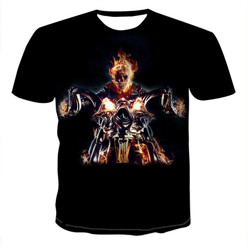 Reap the Road Highway T-shirt Skull Biker American Motorcycle Ghost Rider Devil