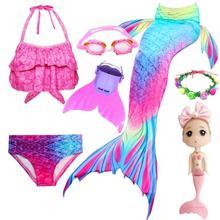 Yeni! Çocuklar çocuklar için denizkızı kuyrukları yüzme Mermaid kuyruk Monofin ile kız kostümleri Swimmable mayo ile Bikini Flipper