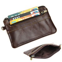 Men's Women's Genuine Leather Coin Purse Zipper Wallet Card Holder Vintage Retro U50C
