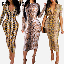 Leopard snake print long party dresses women Sexy v neck slim bodycon club dress animal Long sleeve plus size winter