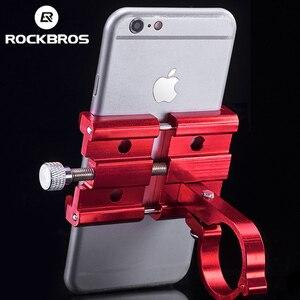 Image 3 - ROCKBROS אוניברסלי אלומיניום אופני טלפון הר Stand מחזיק Bracket מתכוונן אופניים כידון הר עבור 3.5 6.2 אינץ Smartphone