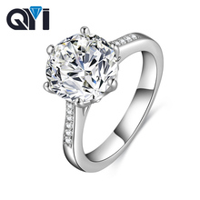 QYI Luxury 4 ct Solitaire Engagement Rings Round Cut 6 Prong Sona Diamond 925 Sterling Silver Engagement Wedding Ring For Women colorfish three stone silver engagement rings prong set princess cut sona cubic zirconia ring women 925 sterling silver ring