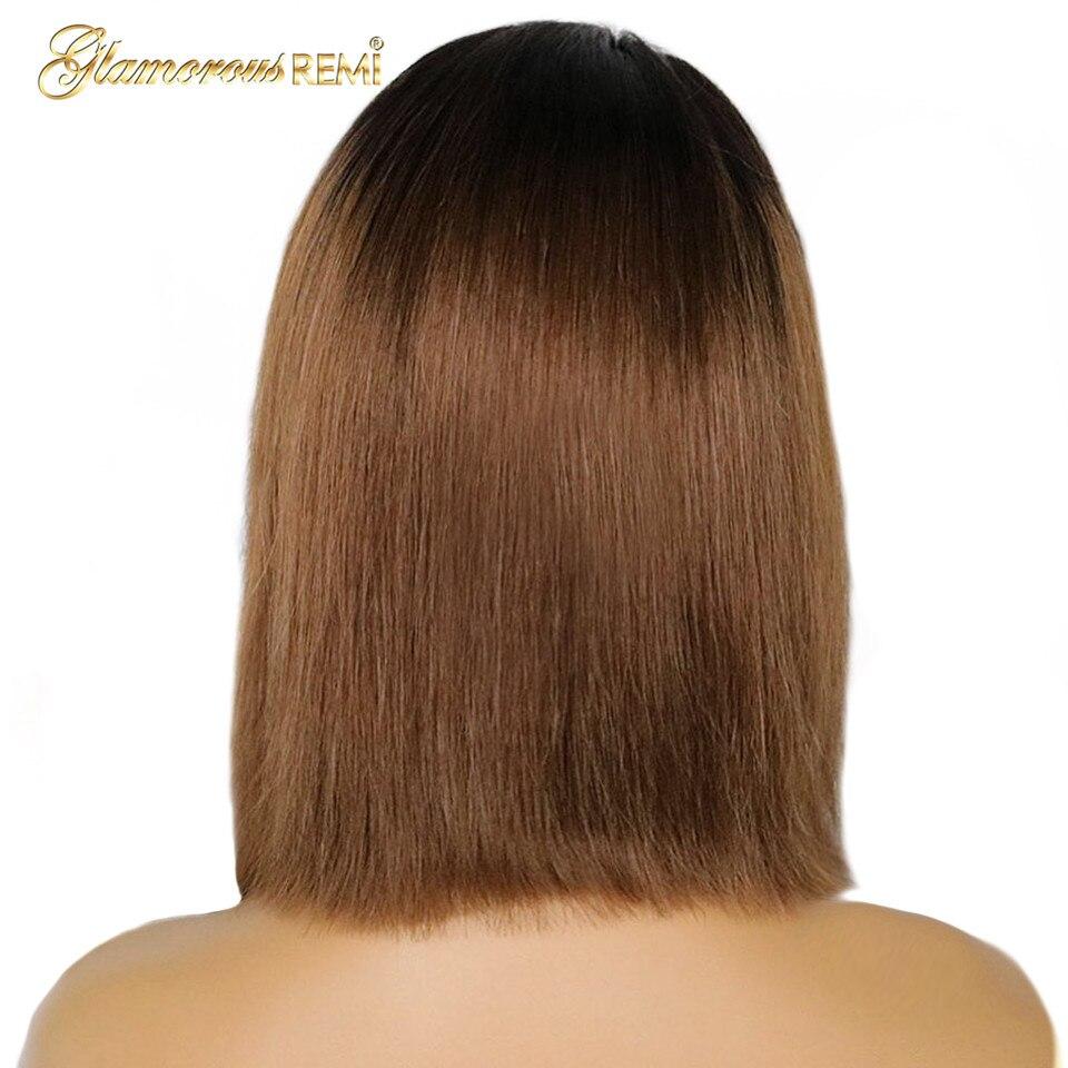 1B 30 Омбре коричневый парик из натуральных волос на кружеве для черных женщин 100% Человеческие волосы remy парик с фронтальной шнуровкой короткий боб парик 13*4 предварительно выщипанный - 6