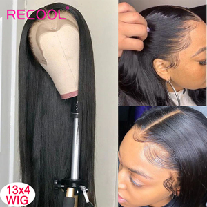 Image 3 - Recool 4X4 Lace Closure Wig Straight Lace Front Human Hair Wigs 200 Density 360 Full Lace Wig 28 30 Inch 13x6 Lace Wig Glueless