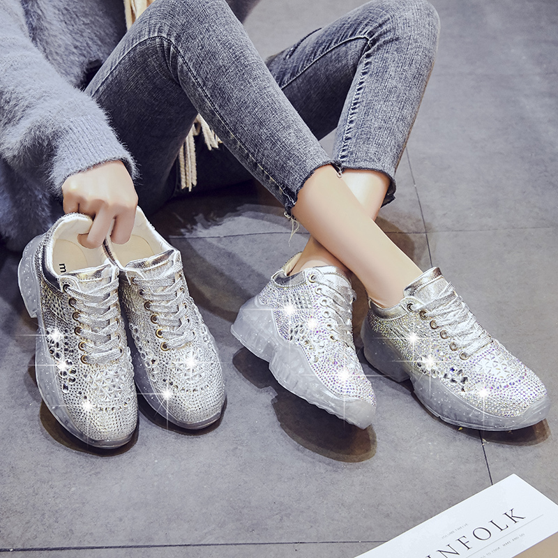 2020 New Brand Womens Toning Shoes Silver Glitter Sport Sneakers For Girls Outdoor Light Anti Slip Gym Athletic Shoes Ladies