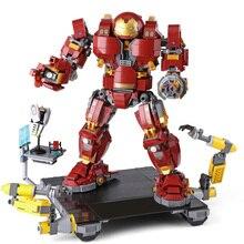 Homem de ferro hulkbuster lepining 76105 marvel ironman vingadores super heróis modelo kit blocos de construção meninos presentes natal crianças brinquedos