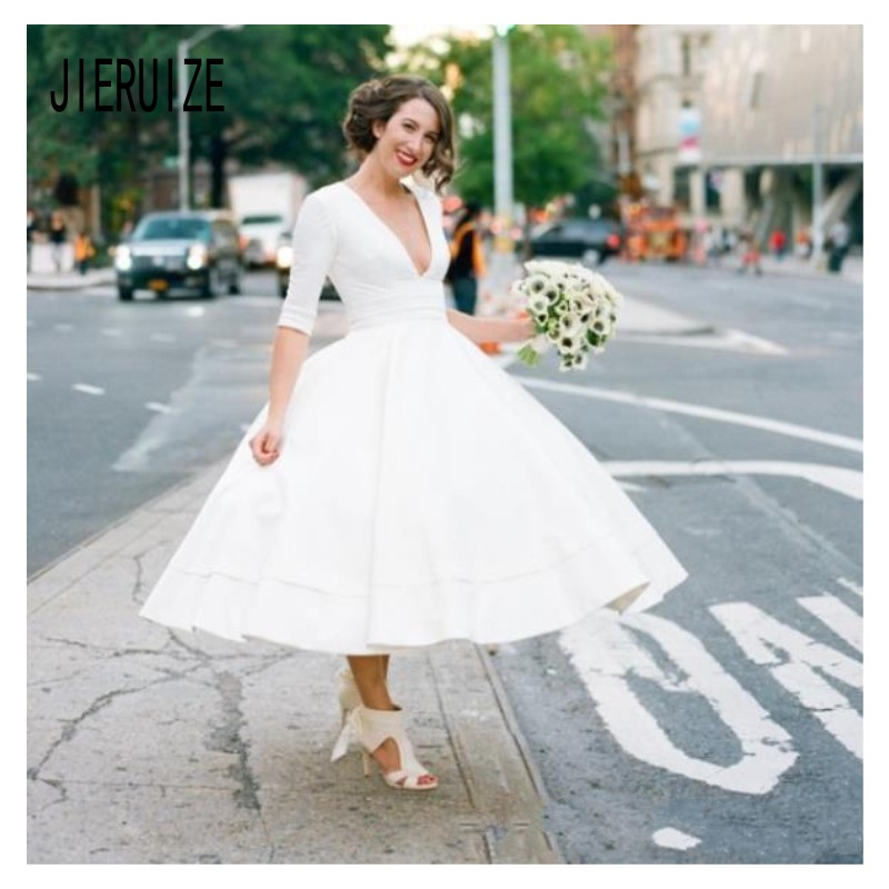 JIERUIZE Sexy V Neck Short Wedding Dresses Half Sleeves Zipper Back Wedding Gowns Bride Dresses Vestido de Novia