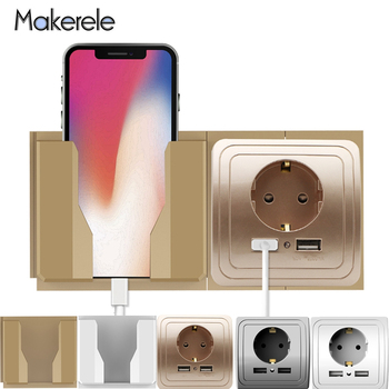 USB Wall Charger Adapter 16A EU Standard Electrical Plug Socket Outlet Fixed/Removable Wall Mobile Phone Charging Stand 3 colors smart home best dual usb port 2000ma wall charger adapter 16a eu standard electrical plug socket power outlet panel
