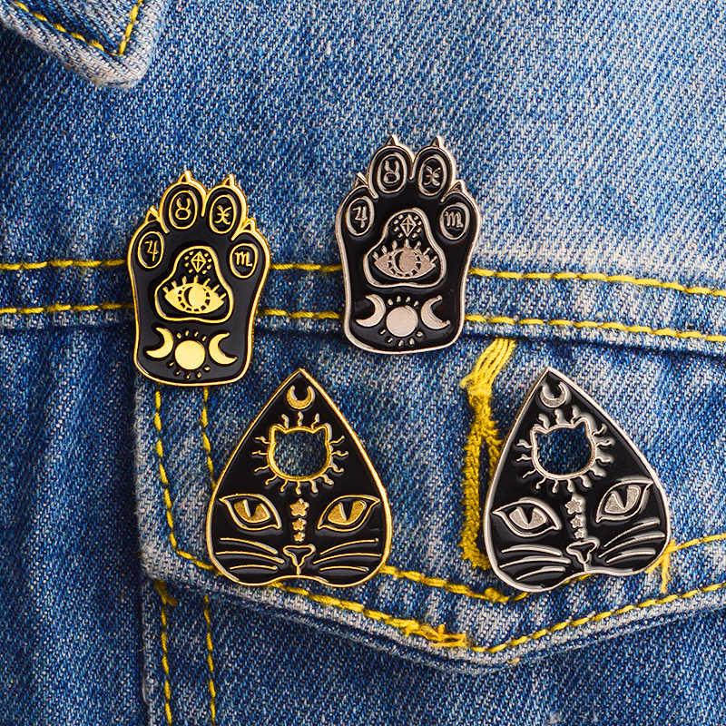 Черные выдалбливают любовь Кошка коготь лицо Темный стиль Броши винтажная резьба глаза Луна солнце персонажи значок булавки брошь подарки