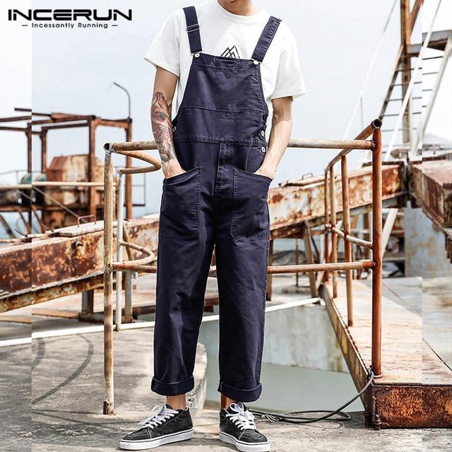 2021 Men Bib Pants Solid Color Casual Jumpsuits Streetwear Joggers Multi Pockets Fashion Suspenders Men Cargo Overalls INCERUN 3