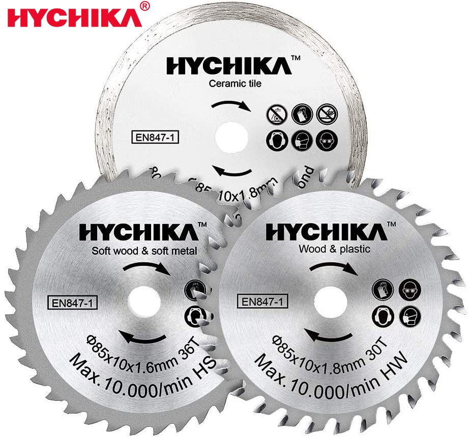 HYCHIKA 3 Packs 3-3/8 Inch 10mm Arbor Circular Saw Blade Set HC/HS/Diamond 4500 RPM