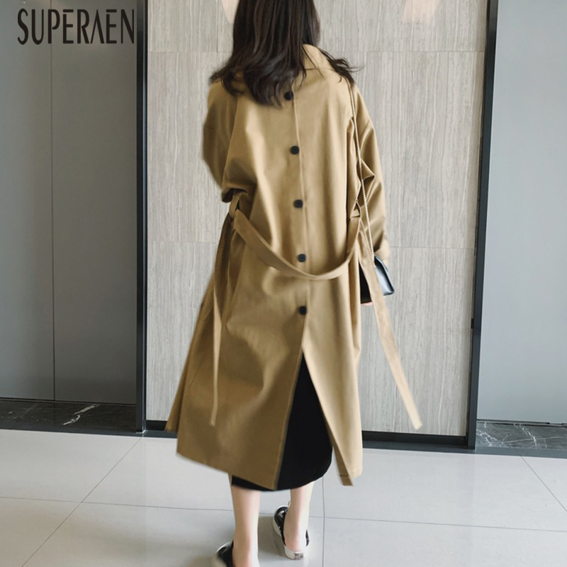 SuperAen 2019 Autumn New Fashion Solid Color Windbreaker Female Wild Cotton Casual   Trench   Coat for Women Europe Women Clothing