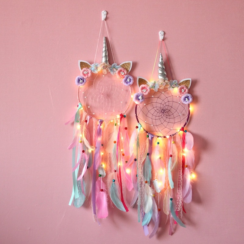 LED Creative Unicorn Wind Chimes Dream Catcher Ornaments Unicorn Party Christmas Gifts For Girls Baby Shower Decorations