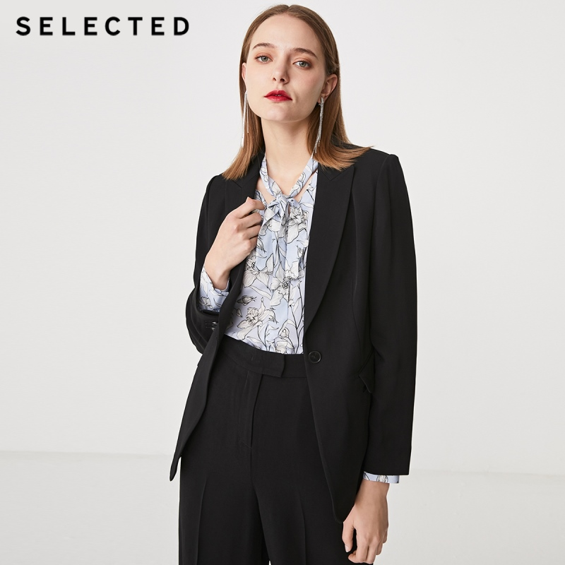 SELECTED Women's Slim Fit One-button Black Suit Jacket SIG|419272505