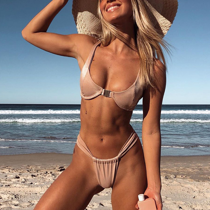 a9d8793774e2 Nuevo Sexy Push Up Bikini 2019 Solid Swimsuit mujer traje De baño ...