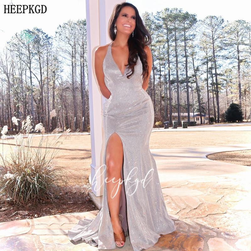 Sexy Sliver Glitter Long Prom Dresses Backless Side Slit Customize Wedding Party Dress Plus Size Girls Graduation Gowns Cheap