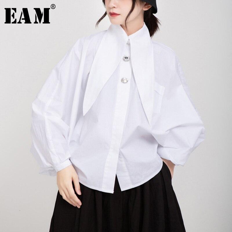 [EAM] Women White Oversized Short Blouse New Lapel Long Lantern Sleeve Loose Fit Shirt Fashion Tide Spring Autumn 2019 1D697