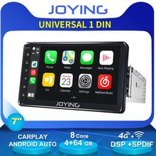 "Joying unidade de cabeça universal 7 ""1 din android rádio autoradio áudio estéreo do carro multimídia dvd player 4g wifi carplay android auto"