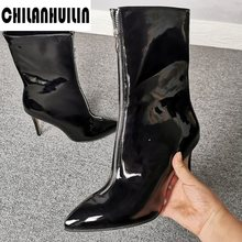black woman shoes plus size autumn winter patent leather sexy high heels pumps shoes woman zipper ankle boots pointed toe shoes(China)