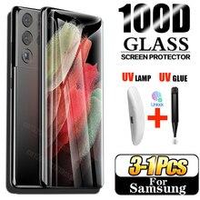 УФ-протектор экрана из закаленного стекла для Samsung Galaxy S21 S10 Plus протектор экрана из закаленного стекла S9 S8 S20 S10e 5G S 9-8-10-21 Note 8, 9, 10, 20 Ультра стекл...