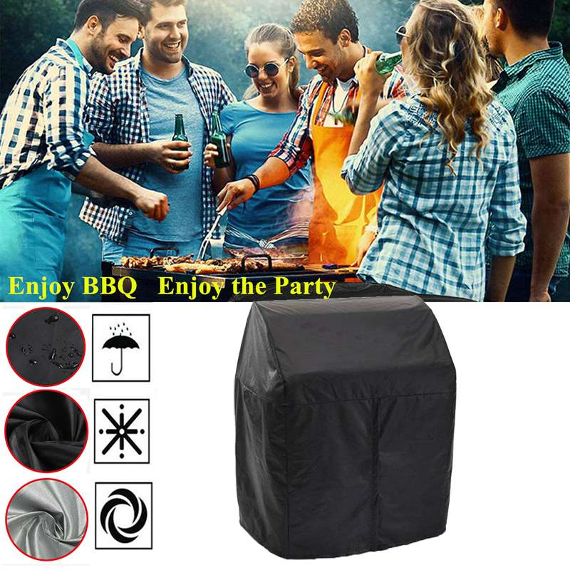 Black Waterproof BBQ Cover BBQ Accessories Heavy Duty Zipper Grill Cover Anti Dust Rain Gas Charcoal Electric Barbeque Grill