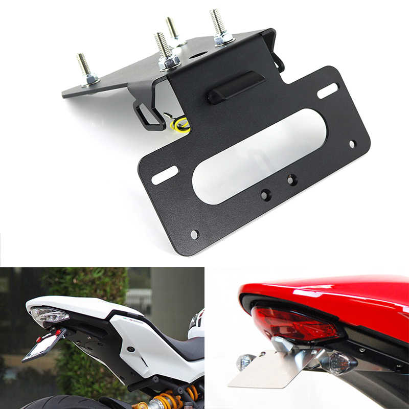Voor Ducati Monster 1200/S 2017 2018 2019 2020 Kentekenplaathouder Bracket Rear Tail Tidy Fender Eliminator Kit zwart Aluminium