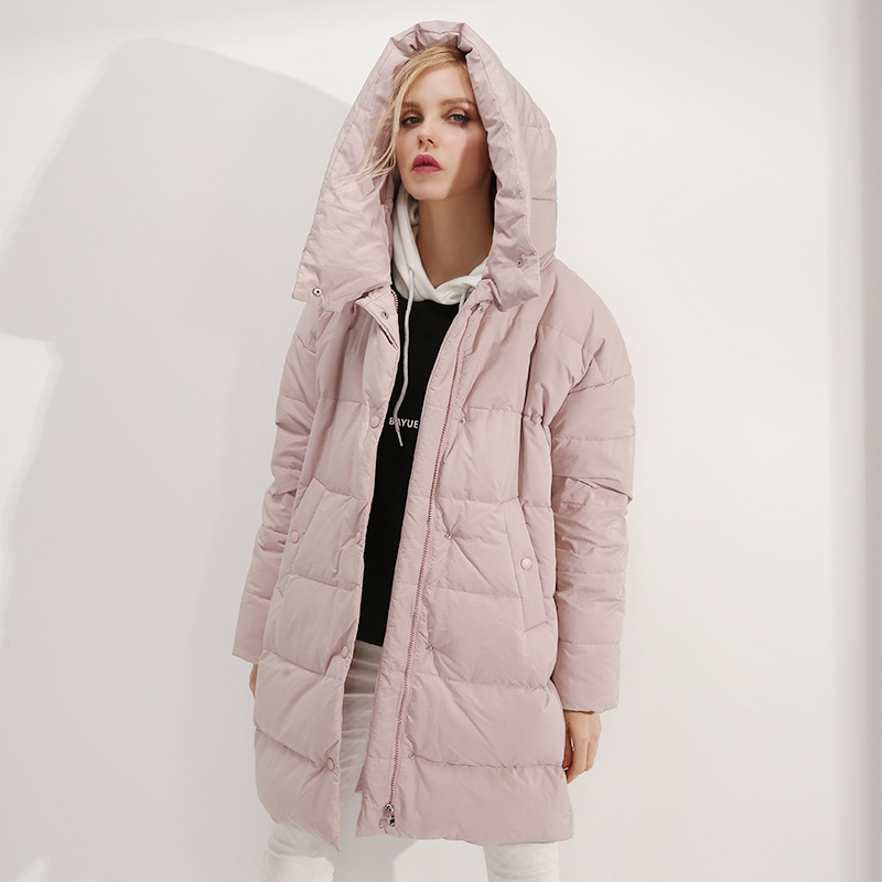 Winter 2019 New Ladies White Duck Down Fashion Warm Coat Women 39 s Hooded Down Jacket Female in Parkas from Women 39 s Clothing